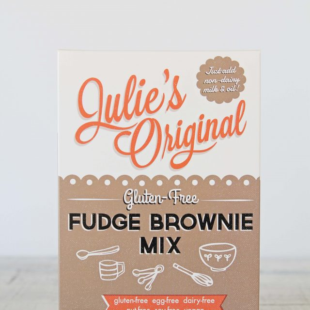 A photo of a box of Julie's Original Fudge Brownie Mix