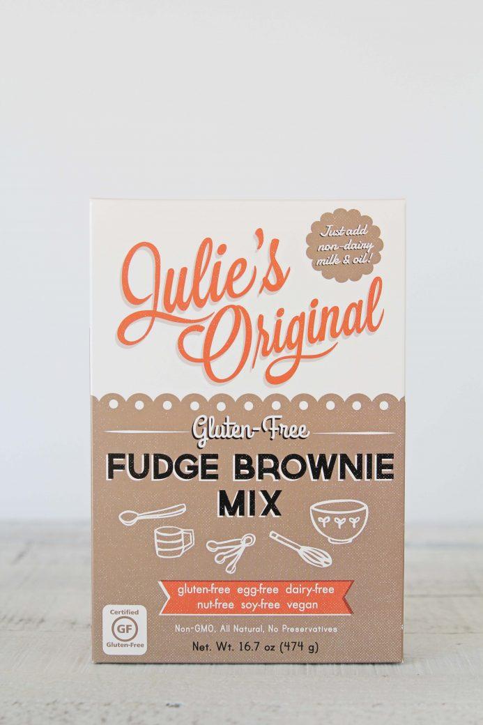A photo of a box of Julie's Original Fudge Brownie Mix