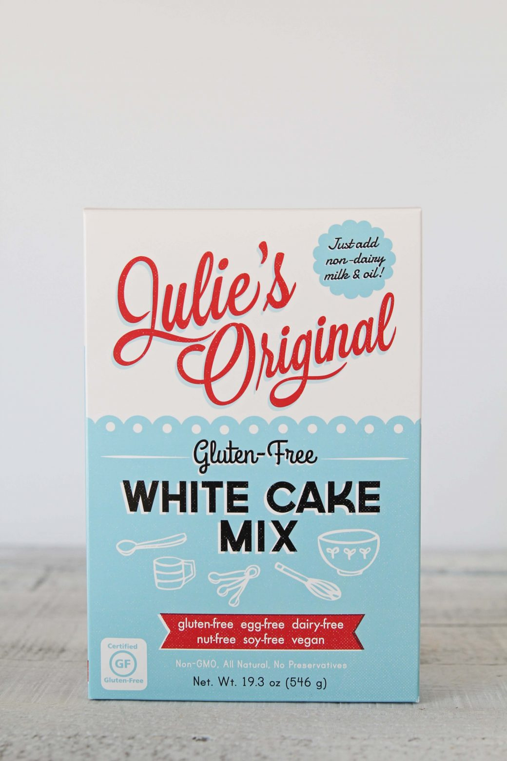 A photo of the Julie's Original Gluten-Free + Vegan White Cake Mix