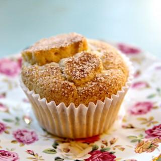 Peach Cinnamon Sugar Muffins (gluten-free + vegan)
