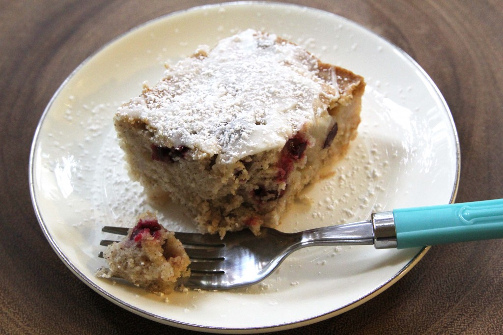 spiced cranberry pear cake, gluten-free + vegan  juliesoriginal.com
